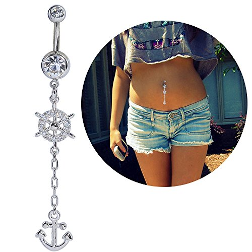 14G Belly Button Navel Ring Surgical Steel Curved Barbell Bananabell Ship Wheel Anchor Piercing Jewelry