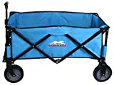 Leopard Outdoor Collapsible Utility Wagon,Portable Folding Utility Wagon,Sports garden cart,Beach Cart,Great Camping Wagon, Shopping Cart,with hard bottom,5 cu. ft. - Light Blue