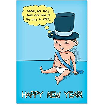 1225 baby new year 2016 funny new year greeting card with 5 x 7 envelope by nobleworks