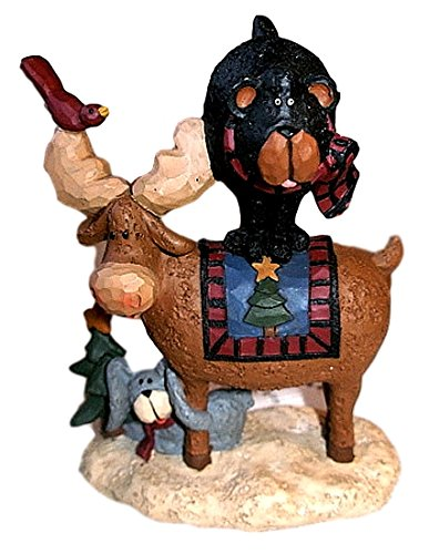 Blossom Bucket Rare 2009 Northwood Christmas Moose & Black Bear w/Tree Resin ()