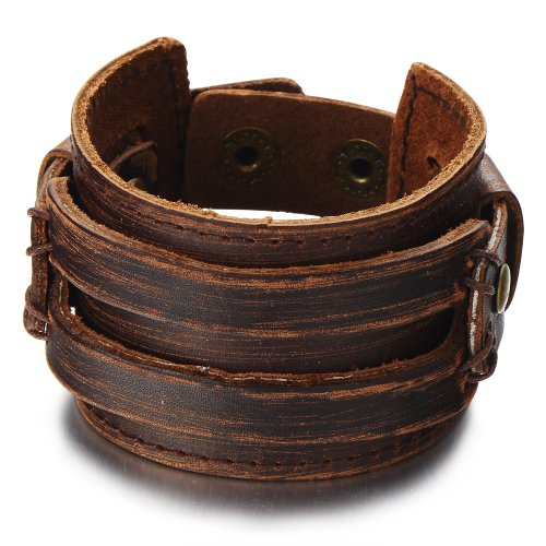 Genuine Leather Bracelet Wristband (Metallic Brown Genuine Leather Wristband Mens Wide Leather Bracelet with Snap Button)