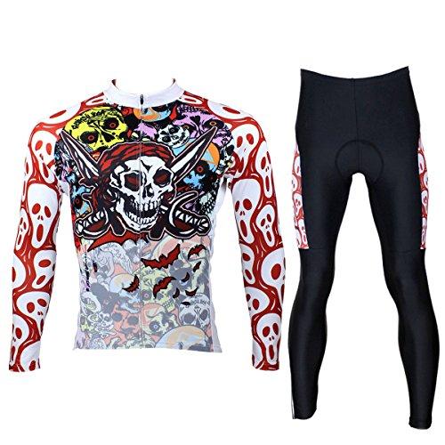 - ILPALADINO Men's Cycling Jersey Clothing Set Long Sleeve Skulls Pattern (S, Pirate Skulls)