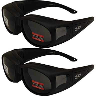 0759a7349f9 Image Unavailable. Image not available for. Color  Two (2) Motorcycle  Safety Sunglasses Fits Over Rx Glasses ...