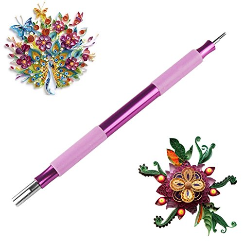 ODETOJOY 1PC Quilling Paper Pen With 2 Size Slotted Needles Filigree Tool Papercraft Origami
