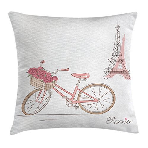 Vintage Throw Pillow Cushion Cover by Ambesonne, Vintage Bike Roses in Basket Paris Eiffel Tower Landscape French Floral Valentines, Decorative Square Accent Pillow Case, 24 X 24 Inches, Pink White (Thanksgiving Basket Landscapes)