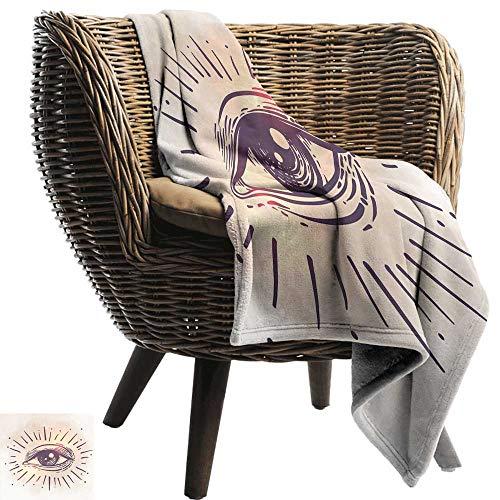 Nap Blanket Eye Hand Drawn Style Artwork Gaze of an Elderly Man Spiritual Vision Retro Style Lightweight Bed or Couch Blanket 70