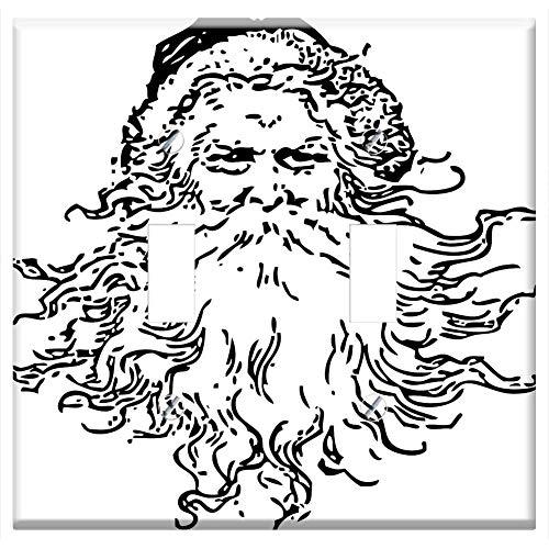 Double Face Santa - Switch Plate Double Toggle - Santa Face Beard Head Gifts Holiday Celebration