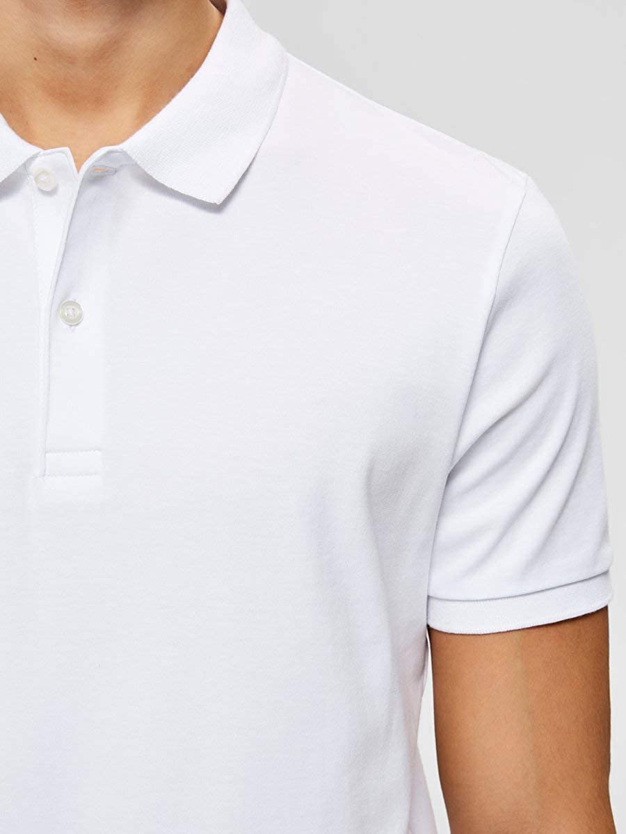 Selected Homme Paris Polo Shirt in Bright White