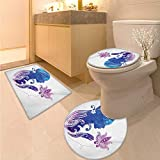Anhuthree Teen Girls Toilet Rug and mat Set Girls Silhouette with Flowers on Her Hair Floral Ornaments Meditation Spa Art 3 Piece Toilet Cover Set Purple Blue