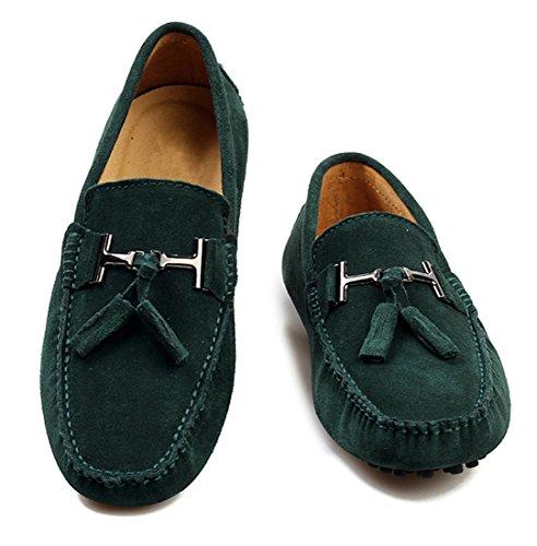 Tda Mens Nya Tofs Mocka Driv Loafers Öre Båt Skor Grönt