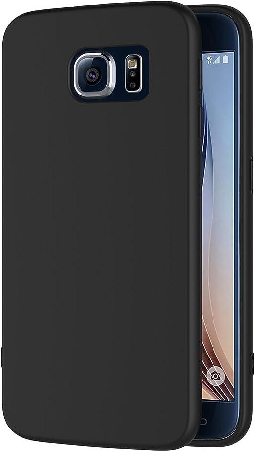AICEK Coque Samsung Galaxy S6, Noir Silicone Coque pour Samsung S6 Housse Galaxy S6 Noir Silicone Etui Case (5,1 Pouces)