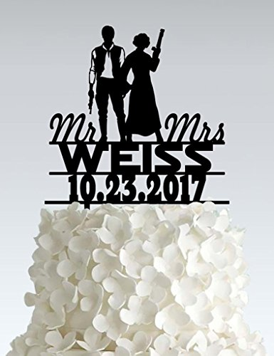 Acrylic Wedding Cake Topper - Star Wars - Hans Solo - I love you I know -
