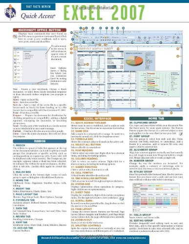 Excel 2007 - REA's Quick Access Reference Chart (Quick Access Reference Charts)