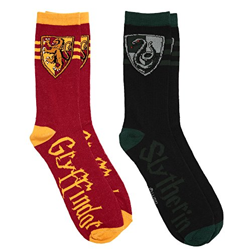 Harry Potter Gryffindor Slytherin 2 Pairs Pack Men's Socks - Shoe Size 6-12