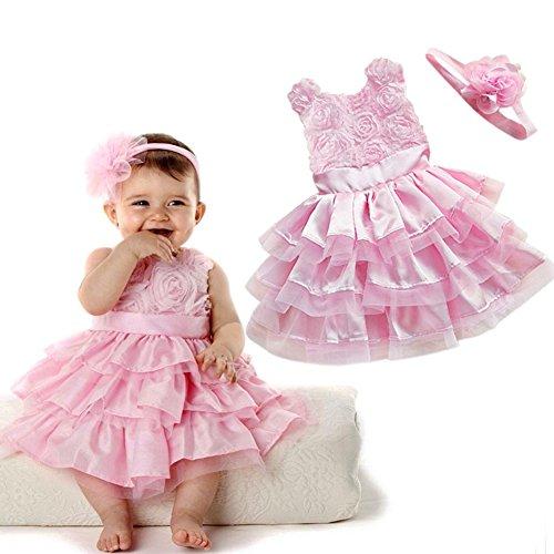 iiniim Baby Girls Wedding Party Pink Rosette Tunic Dress with Flower Headband 12-18 (Pink Tulle Rosette)