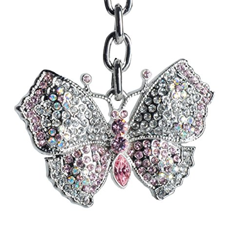 Lilly Rocket Pink Butterfly Bling Rhinestone Swarovski Crystal Charm Pendant Purse Bag Key Ring Chain