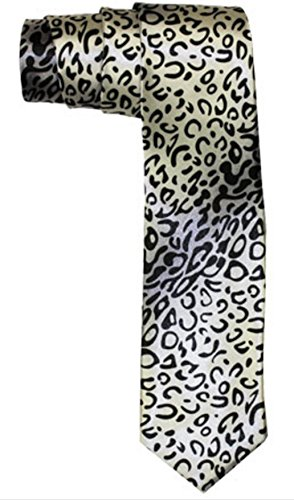 Outer Rebel Fashion Skinny Animal Print Ties (Snow Leopard)