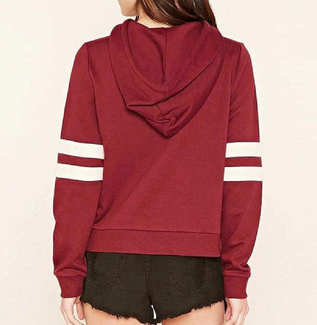 YUNY Simple Basic Spliced Color Splicing Fashional Hoodie Sweatshirt Wine red M