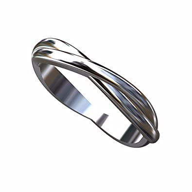 Solid 14K White Gold Double Twisted Wedding Band Ring
