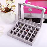 Novadeal 24 Grids PU Velour Leather Multipurpose Jewellery Storage Box Ring/Earrings/Necklace Tray Display Case Organizer - Grey