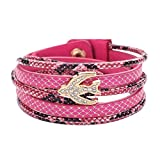 Diamondo European Unisex Multi-Layer PU Bracelet Crystal Jewelry Accessories(Pink)