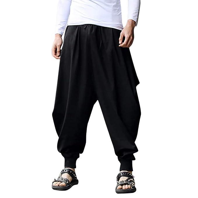 Oliviavan Pantalones para Hombre,Hombre Color Sólido Algodón ...