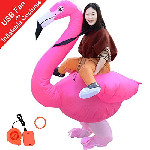 HUAYUARTS Men Inflatable Costume Flamingo Cloth Rose Women Fancy Dress Blow up Halloween Cosplay Gift, Adult, Free Size ()