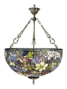 Dale Tiffany 1051/3LTH Magnolia Pendant Light, Antique Brass and Art Glass Shade