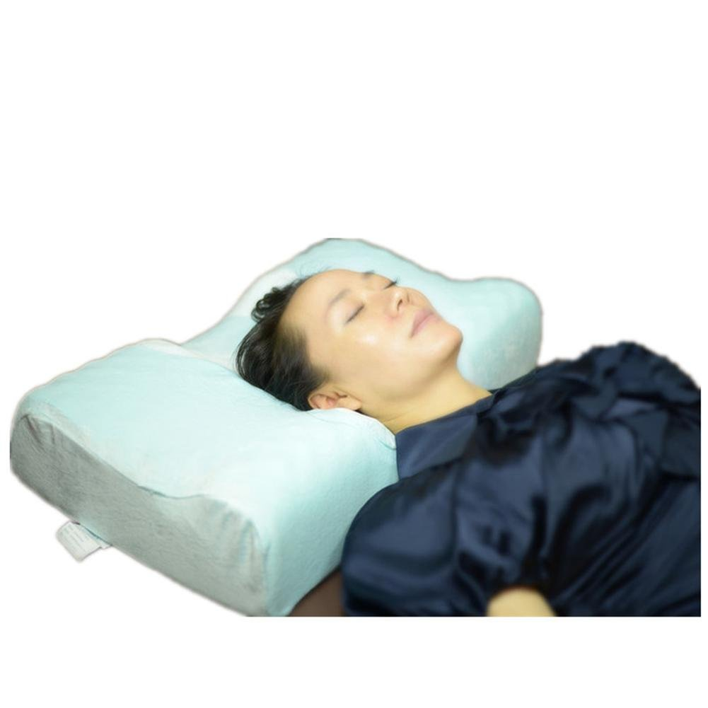 LUCKYYYAN Medical Anti Snore High-Density Natural Latex Bed Pillow Therapeutic Cervical Neck Pillow with Ergonomic Contoured Head Cavity Breathable Removable Cover for Back and Side Sleepers,a