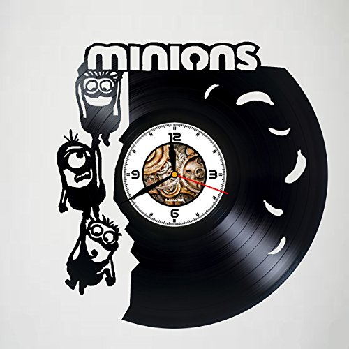 MINIONS DESIGN - Incredible Handmade Vinyl Record Vintage Wall Clock - Room decor Unique Living Kitchen KidsRoom Wall Decor - Gift idea for children, teens, adults - Customize your clock !