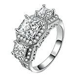 Purmy Women Ring White Gold Plated Colourless Cubic Zirconia Hearts and Arrows Four Claw Zirconia Princess Cut Size J 1/2