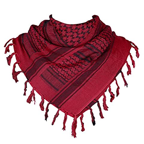 HDE Military Shemagh Neck Scarf Desert Tactical Style Head Wrap Keffiyeh Checkered Scarf (Red) (Palestinian Scarf For Men)