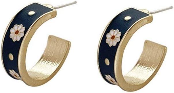 NOBRAND Aguja de Plata Elegante Retro pequeño crisantemo impresión C - Pendientes en Forma Sencilla Temperamento súper Pendientes de la Muchacha de Hadas Partido Jewelr (Color : Ear Stud)