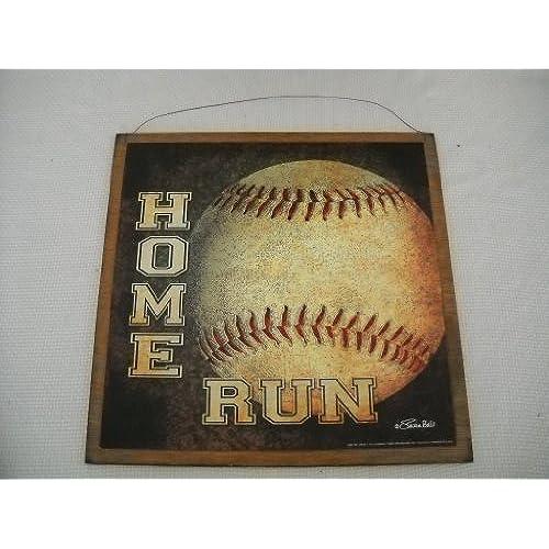 Home Run Baseball Boys Sports Bedroom Wood Wooden Wall Art Sign Size 7x7