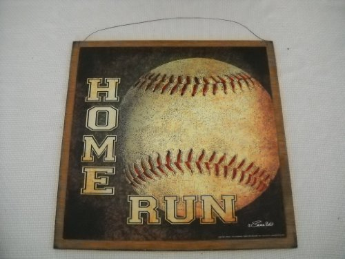home run baseball boys sports bedroom wood wooden wall art sign size 7x7