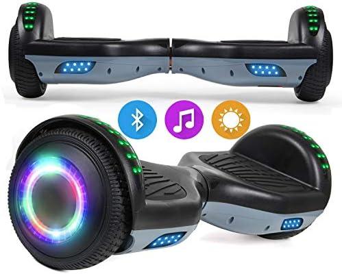 SISGAD Hoverboard, Gyropode électrique 6,5 Pouces Hoverboard Hover Scooter Board avec Musique Bluetooth, lumières LED et Moteur Puissant pour Enfants et Adolescents