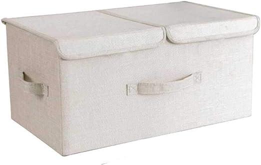 ECSD Cajas De Almacenamiento De Doble Tapa, Plegables De Tela Organizador para La Ropa Juguetes Libros, con Asas, 50 X 30 X 25 Cm (Color : Beige): Amazon.es: Hogar