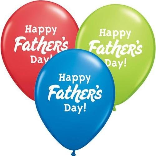 Day Latex Balloon - Qualatex Happy Fathers Day 11 Inch Latex Balloons (10 Pack, Assorted Colours)