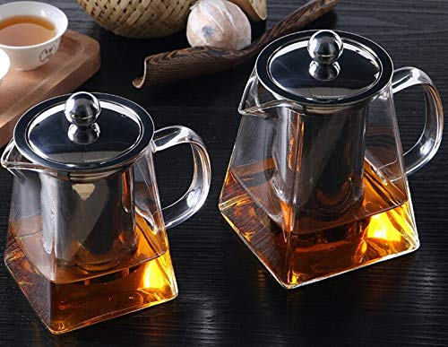 Tea Strainers Tea Set Glass With Stainless Steel Infuser Filter Press tea Pot 450/550/750/950ML tea infusers by TXT (Image #2)