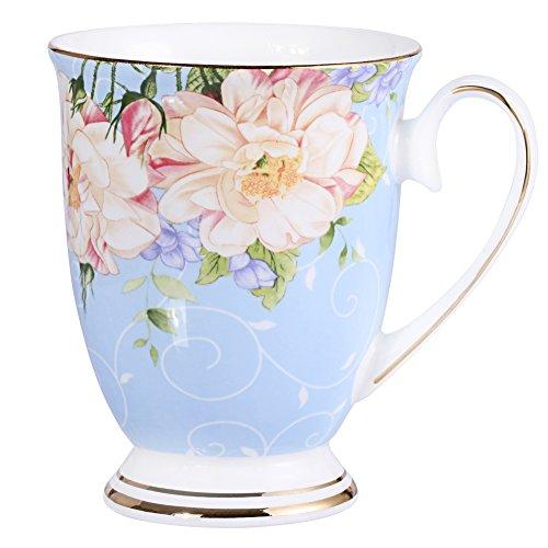 AWHOME Royal Fine Bone China Coffee Mug Assorted colors Tea Cup 11 oz (1, blue) (Tall Bone China Mug)