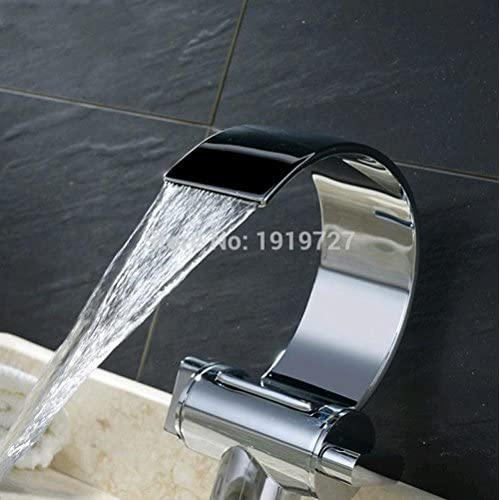 cheap HYY@ 100% Solid Brass Unique Design Polish Chrome Double Handle Deck Mount Waterfall Bathroom Sink Faucet Silver Basin Mixer Tap