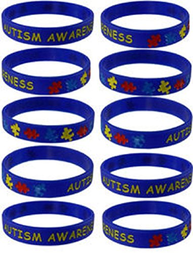 Autism Awareness Puzzle Pieces Silicone Bracelets Wristbands - Various Quantities by Mammoth Sales (1)