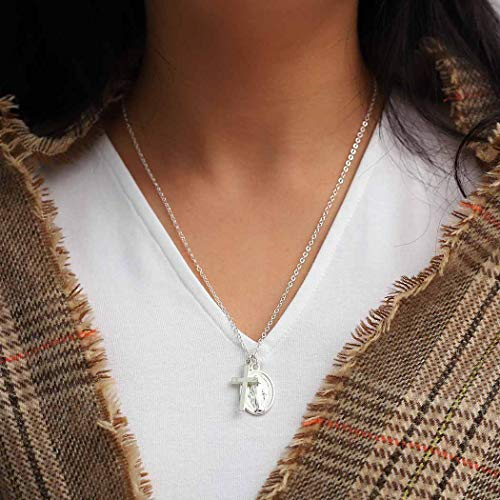 Fstrend Holy Necklace Dainty Cross Virgin Mary Charms Necklaces Jewelry with Pendant Easter for Women and Girls(Silver)