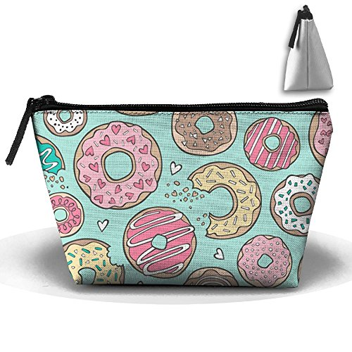 Donuts And Chocolate On Mint Travel Bag Cosmetic Bag Storage Toiletries Cords And Chargers Zipper Pouch (Chocolate Travel Charger)