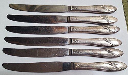 6 ONEIDA Community Tudor Plate Silverplate Dinner Knives w Stainless Blades
