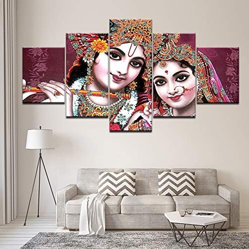 kkxdp Framed Canvas Painting Shri Radha & Krishna Beautiful 5 Pieces Wall Art Painting Modular Wallpapers Poster Print Living Room Home Decor-B (Best Radha Krishna Hd Wallpaper)