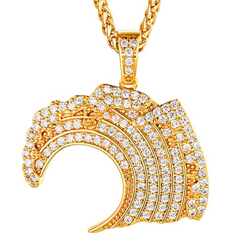 U7 Men Women Fashion Hip Hop Jewelry 18K Gold Plated Diamond Lab Personalized Bling Iced Out Broken Heart Pendant Necklace, Chain 22