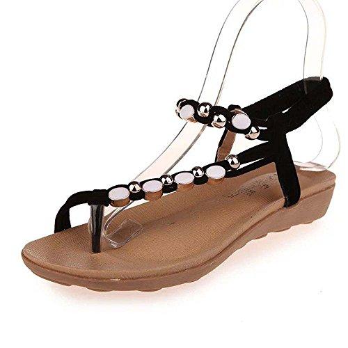 Sandals Amazing Women Summer Bohemia Sweet Flower Beads Shoes Flat Beach Shoes (Color : Red, Size : EU37/UK4.5-5/CN37) Black