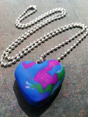 (Polymer Blue/Purple/Green Swirl Heart Necklace)