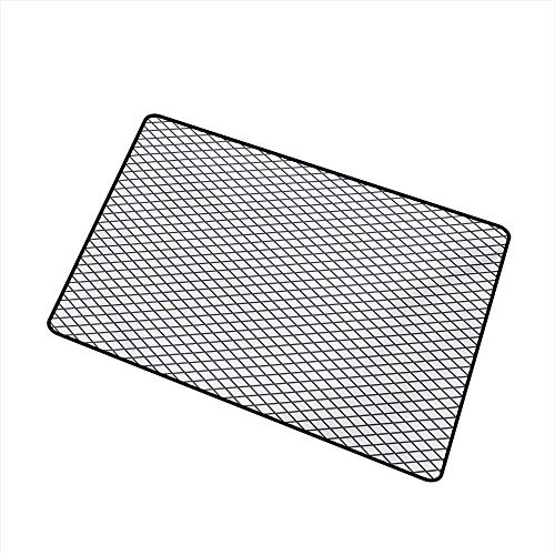 (BeckyWCarr Modern Commercial Grade Entrance mat Geometrical Stripes Crossing Zig Zag Basket Braid Like Image for entrances, garages, patios W23.6 x L35.4 Inch,Charcoal Grey Black and White)